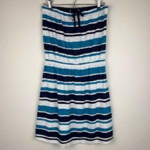 GAP Strapless Short Dress Stripes Blue White M